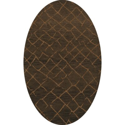 Bella Machine Woven Wool Brown Area Rug Rug Size: Oval 5 x 8