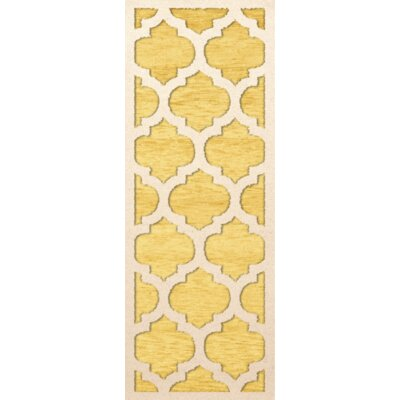 Bella Machine Woven Wool Yellow Area Rug Rug Size: Runner 26 x 8