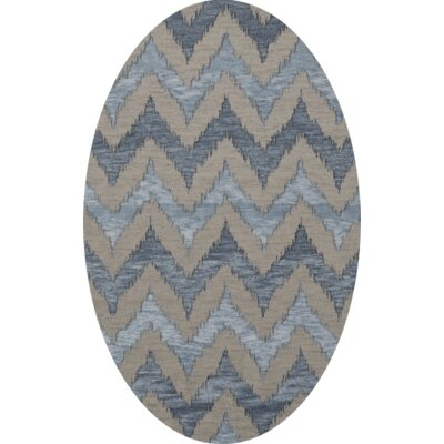 Bella Machine Woven Wool Beige/Blue Area Rug Rug Size: Oval 8 x 10