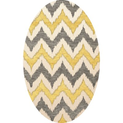 Bella Machine Woven Wool Beige/Gray/Yellow Area Rug Rug Size: Oval 12 x 18