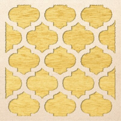 Bella Machine Woven Wool Yellow Area Rug Rug Size: Square 8