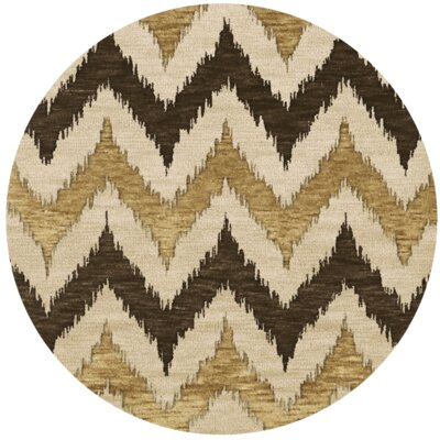 Bella Machine Woven Wool Brown Area Rug Rug Size: Round 8'
