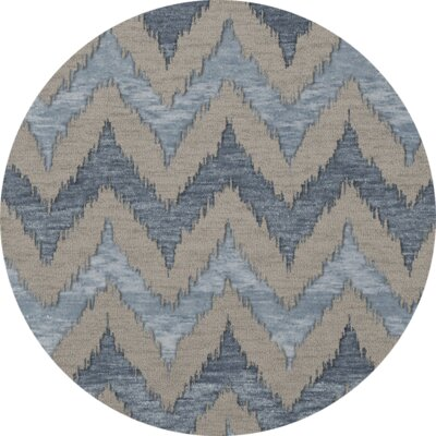 Bella Machine Woven Wool Beige/Blue Area Rug Rug Size: Round 8