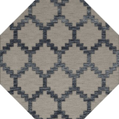 Bella Machine Woven Wool Gray Area Rug Rug Size: Octagon 6
