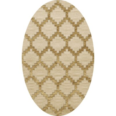 Bella Machine Woven Wool Beige Area Rug Rug Size: Oval 3 x 5