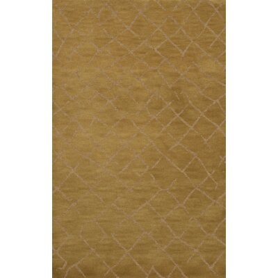 Bella Machine Woven Wool Gold Area Rug Rug Size: Round 4'