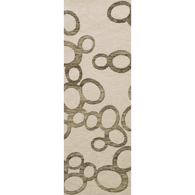 Bella Machine Woven Wool Beige Area Rug Rug Size: Runner 26 x 10