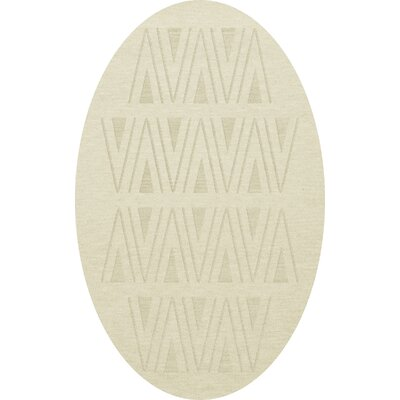 Bella Machine Woven Wool White Area Rug Rug Size: Oval 3 x 5