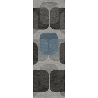 Bella Machine Woven Wool Gray/Black Area Rug Rug Size: Runner 26 x 10