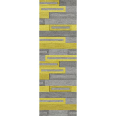 Bella Machine Woven Wool Gray/Yellow Area Rug Rug Size: Runner 26 x 10