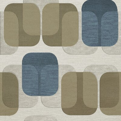 Bella Machine Woven Wool Gray/Brown Area Rug Rug Size: Square 12