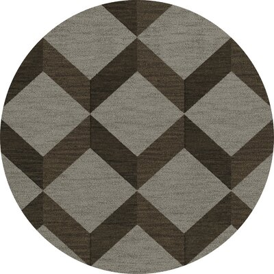 Bella Machine Woven Wool Gray/Brown Area Rug Rug Size: Round 6