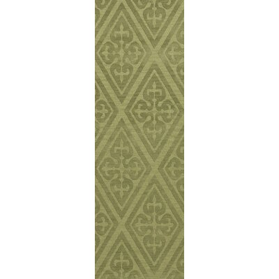 Bella Machine Woven Wool Green Area Rug Rug Size: Runner 26 x 12