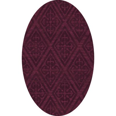 Bella Machine Woven Wool Red Area Rug Rug Size: Oval 9' x 12'