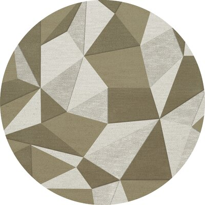 Bella Machine Woven Wool Beige/Gray Area Rug Rug Size: Round 12