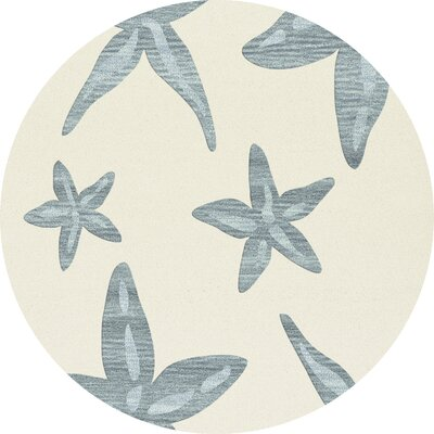 Bella Machine Woven Wool Beige/Blue Area Rug Rug Size: Round 4