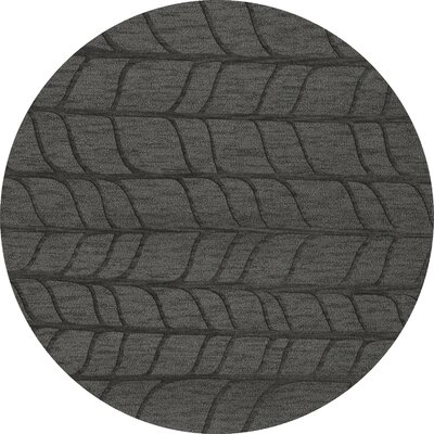 Bella Machine Woven Wool Gray Area Rug Rug Size: Round 4