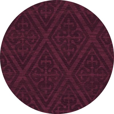 Bella Machine Woven Wool Red Area Rug Rug Size: Round 6