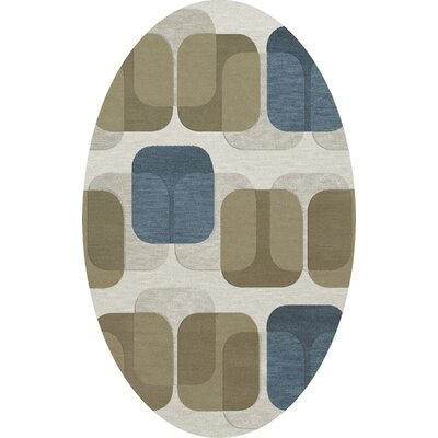 Bella Machine Woven Wool Gray/Brown Area Rug Rug Size: Oval 6 x 9