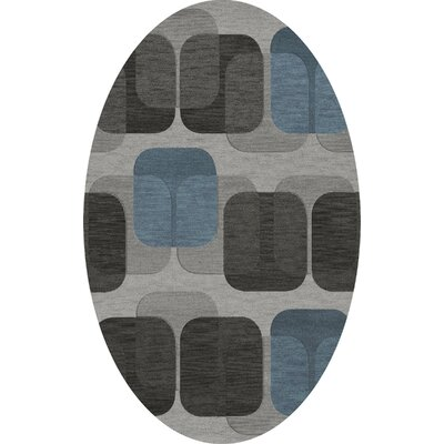 Bella Machine Woven Wool Gray/Black Area Rug Rug Size: Oval 6 x 9