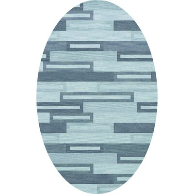 Bella Machine Woven Wool Blue Area Rug Rug Size: Oval 3 x 5