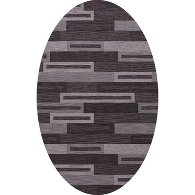 Bella Machine Woven Wool Black/ Gray Area Rug Rug Size: Oval 10 x 14
