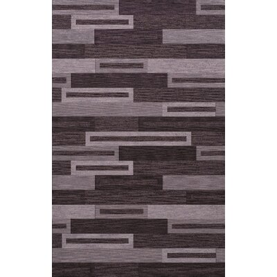 Bella Machine Woven Wool Black/ Gray Area Rug Rug Size: Rectangle 5 x 8