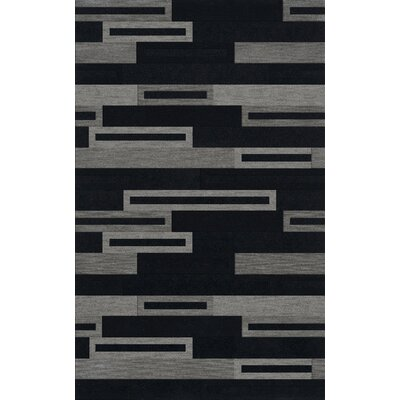 Bella Machine Woven Wool Black/Gray Area Rug Rug Size: Rectangle 12 x 18