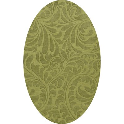 Bella Machine Woven Wool Green Pad Area Rug Rug Size: Oval 5 x 8