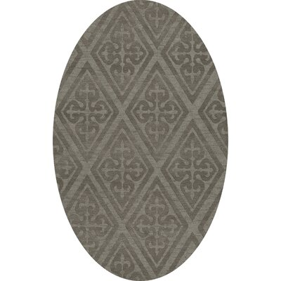 Bella Machine Woven Wool Gray Area Rug Rug Size: Oval 3 x 5