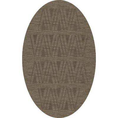 Bella Machine Woven Wool Gray Area Rug Rug Size: Oval 6 x 9