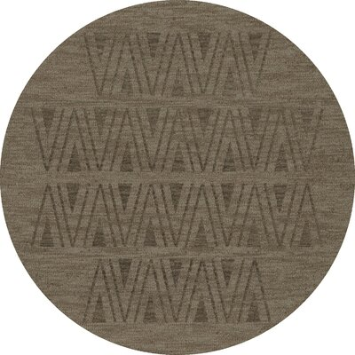 Bella Machine Woven Wool Gray Area Rug Rug Size: Round 4'