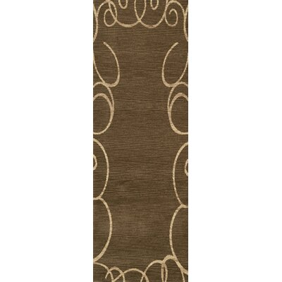 Bella Machine Woven Wool Brown Area Rug Rug Size: Runner 26 x 8