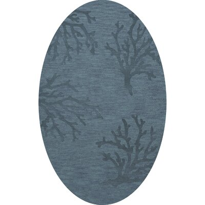 Bella Machine Woven Wool Blue Area Rug Rug Size: Oval 5 x 8