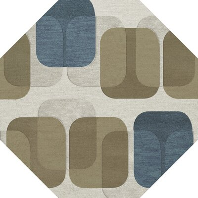 Bella Machine Woven Wool Gray/Brown Area Rug Rug Size: Octagon 4