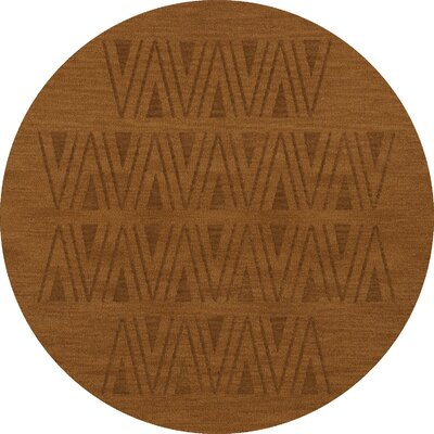 Bella Machine Woven Wool Brown Area Rug Rug Size: Round 6