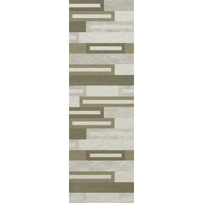 Bella Machine Woven Wool Gray/ Brown Area Rug Rug Size: Runner 26 x 10