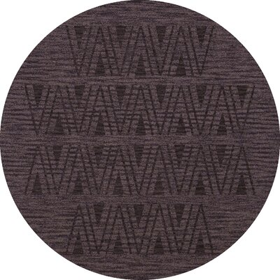 Bella Machine Woven Wool Purple Area Rug Rug Size: Round 6