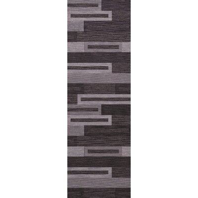 Bella Machine Woven Wool Black/ Gray Area Rug Rug Size: Runner 26 x 12