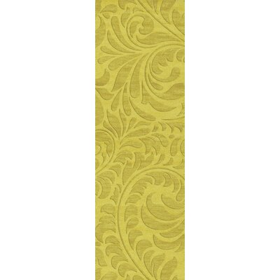 Bella Machine Woven Wool Yellow Area Rug Rug Size: Runner 26 x 12