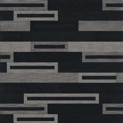 Bella Machine Woven Wool Black/Gray Area Rug Rug Size: Square 4