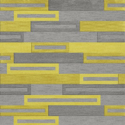 Bella Machine Woven Wool Gray/Yellow Area Rug Rug Size: Square 6