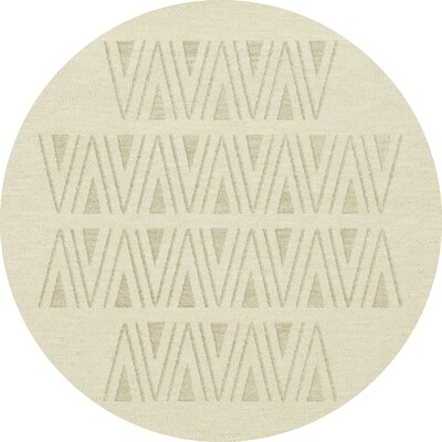 Bella Machine Woven Wool White Area Rug Rug Size: Round 10