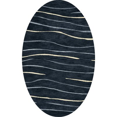 Bella Machine Woven Wool Blue Area Rug Rug Size: Oval 8 x 10
