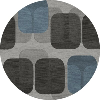 Bella Machine Woven Wool Gray/Black Area Rug Rug Size: Round 12