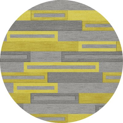 Bella Machine Woven Wool Gray/Yellow Area Rug Rug Size: Round 12
