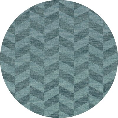 Bella Machine Woven Wool Blue Area Rug Rug Size: Round 8