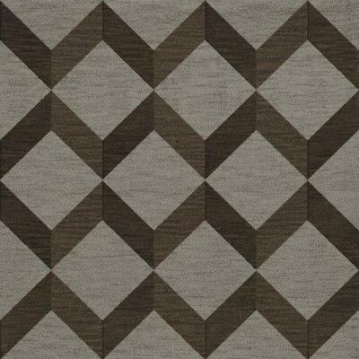 Bella Machine Woven Wool Gray/Brown Area Rug Rug Size: Square 6