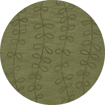 Bella Machine Woven Wool Green Area Rug Rug Size: Round 6