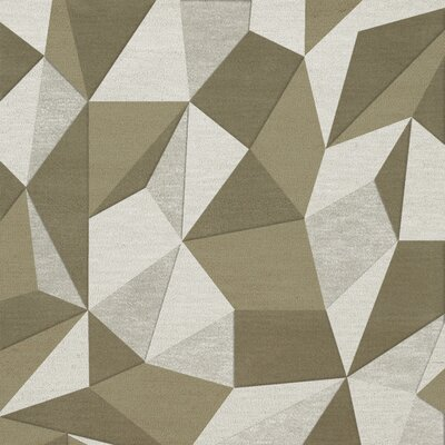 Bella Machine Woven Wool Beige/Gray Area Rug Rug Size: Square 12